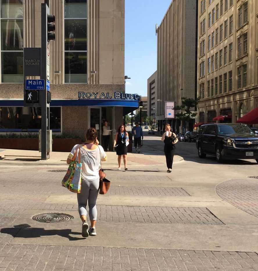 Royal Blue Grocery shares the intersection of Main and Ervay streets in downtown Dallas with Nieman Marcus. Photo taken on Aug. 2, 2018. Royal Blue opened in downtown Dallas on July 28, 2018.
