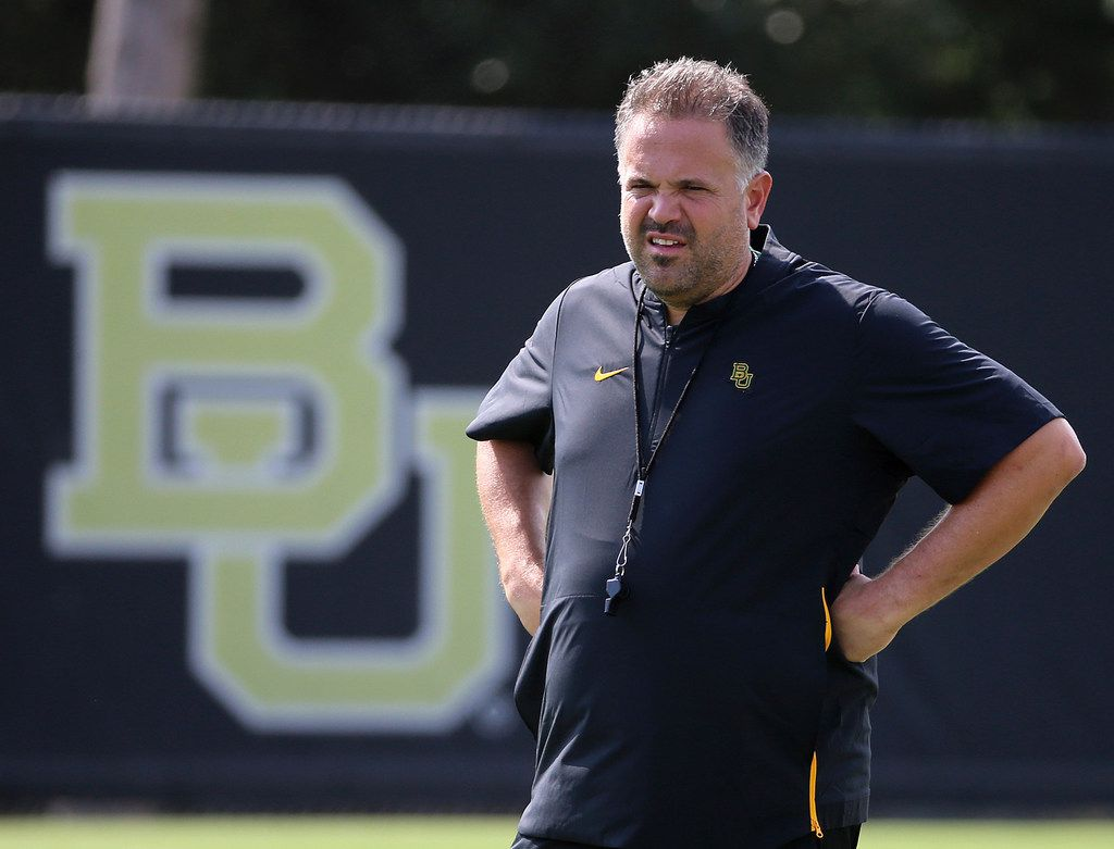 Baylor head football coach Matt Rhule watches his team during the first day of NCAA college football fall practice Friday, Aug. 2, 2019, in Waco, Texas. (Jerry Larson/Waco Tribune Herald via AP)