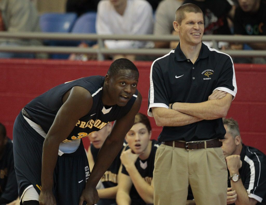 Prestonwood's Julius Randle (30) talks to coach Chris Mayberry as they played Madison Prep Academy during the Thanksgiving Hoopfest  at Sandra Meadows Arena in Duncanville on November 23, 2012.  (Michael Ainsworth/The Dallas Morning News)