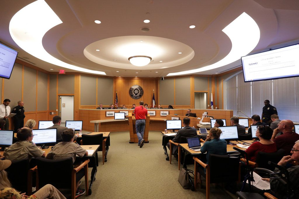 Rhett Preston addresses the council to oppose a possible annexation during a council meeting at the Jack Hatchell Collin County Administration Building in McKinney on Sep. 19.