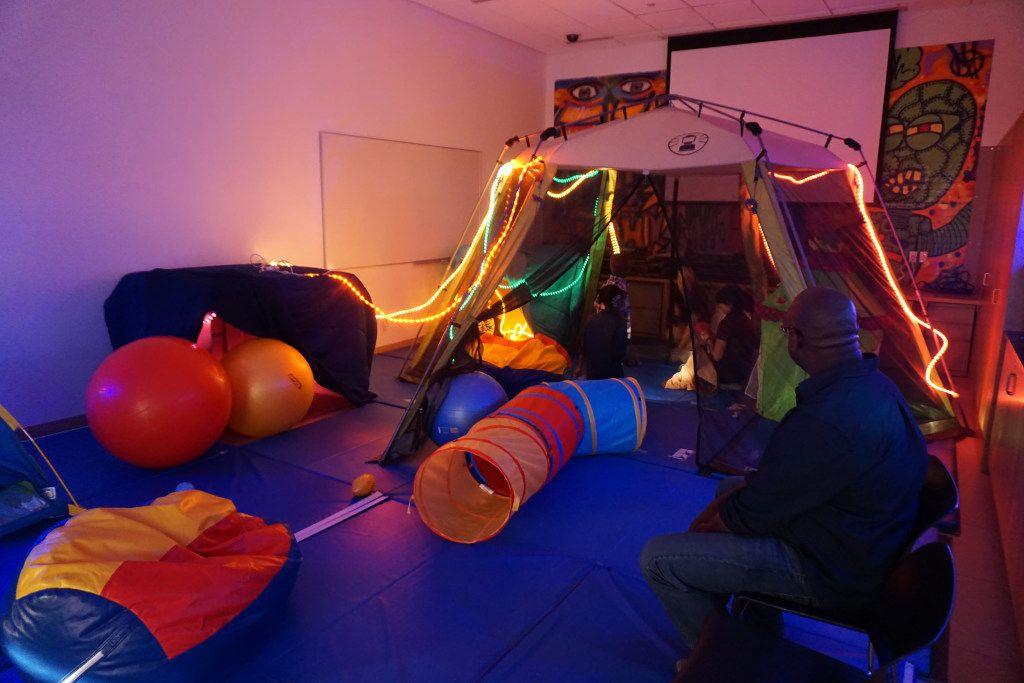 The sensory room is a quiet place for children to go if they are overwhelmed by the program's activities.