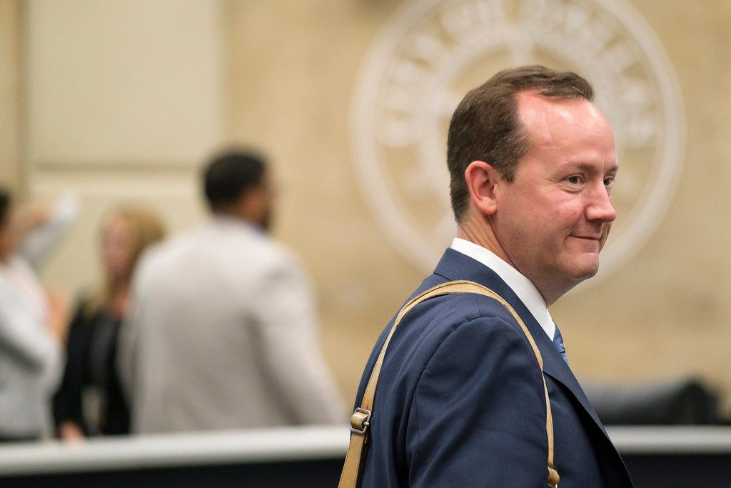 Dallas City Council member Philip Kingston departs a briefing room after being cleared by the Ethics Advisory Commission during a hearing at City Hall. Kingston was cleared on a unanimous 6-0 vote on a complaint regarding his involvement in getting accessory dwelling units approved for his Belmont Addition Conservation District neighborhood.