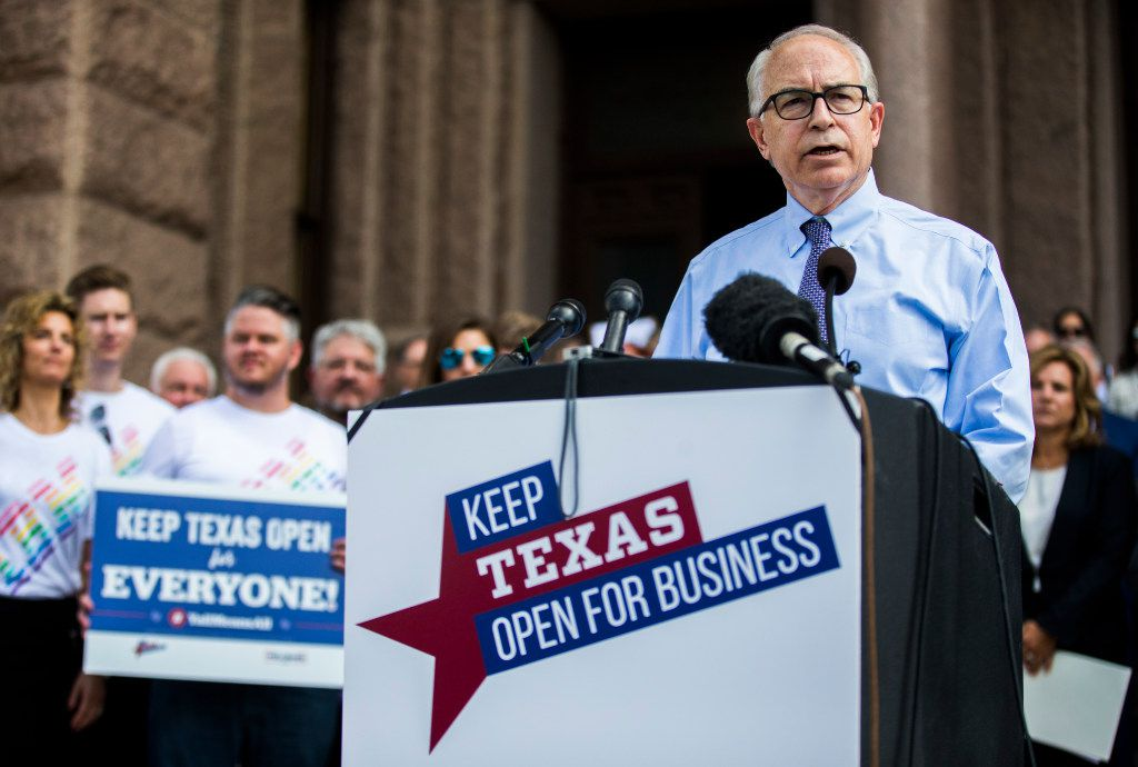 Jeff Moseley of the Texas Association of Business and other Texas business leaders hold a news conference opposing the bathroom bill on Monday, July 17, 2017 at the Texas state capitol in Austin, Texas. (Ashley Landis/The Dallas Morning News)