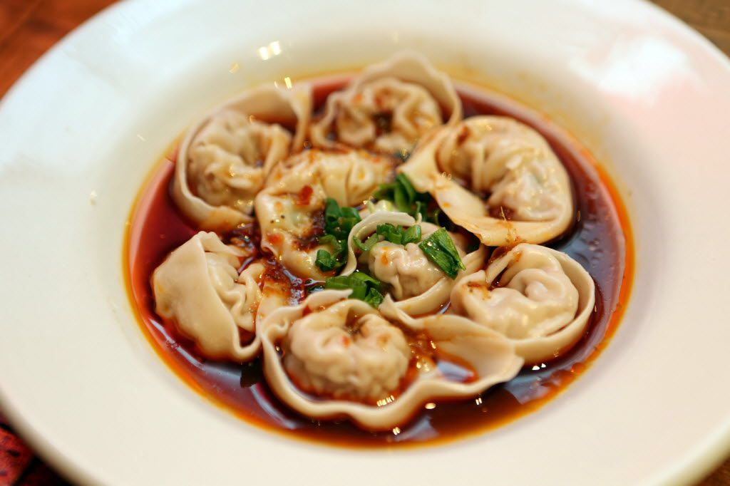 Royal China's Sichuan spicy wontons include pork in a red spicy, sweet and sour tangy Sichuan peppercorn.