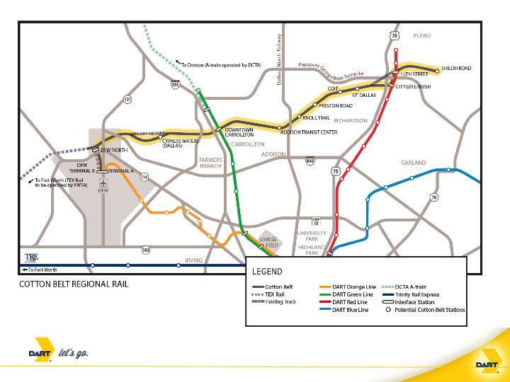 The Cotton Belt commuter rail line is scheduled to begin construction in 2019 and begin service in December 2022.