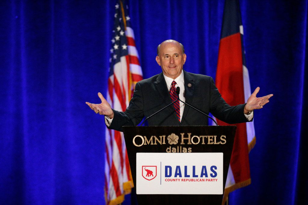 Congressman Louie Gohmert speaks during the Dallas County Republican Party's Reagan Day Dinner at the Omni Dallas Hotel in Dallas on March 11, 2017. (Nathan Hunsinger/The Dallas Morning News)