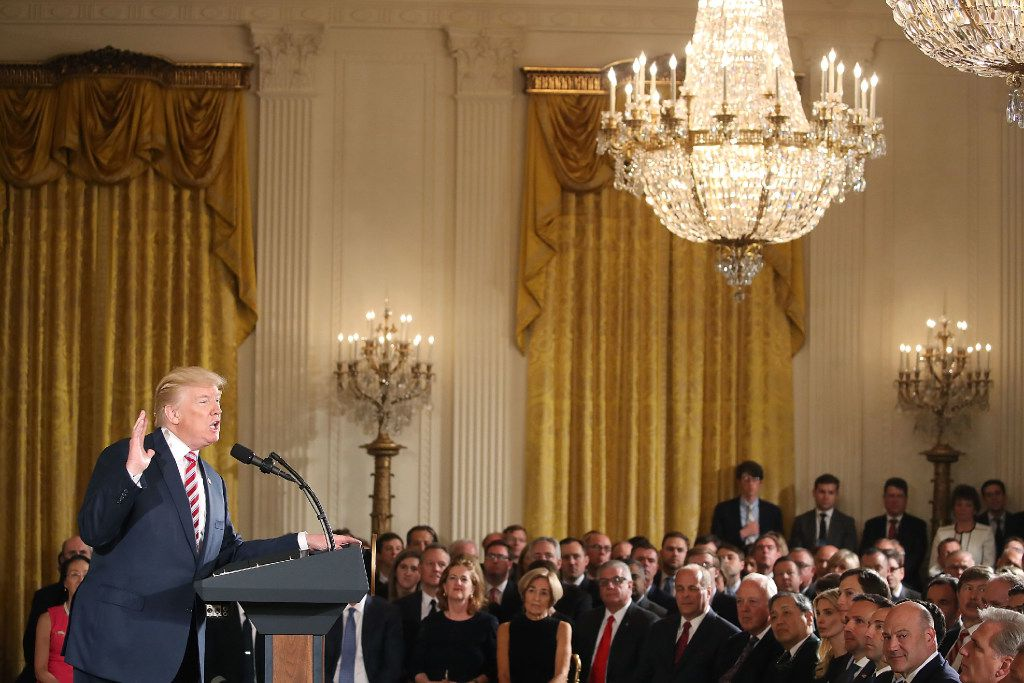 U.S. President Donald Trump announces the Air Traffic Control Initiative during an event in the East Room of the White House on June 5, 2017 in Washington, D.C. President Trump signed a letter of principal that would privatize the air traffic control functions of the Federal Aviation Administration.
