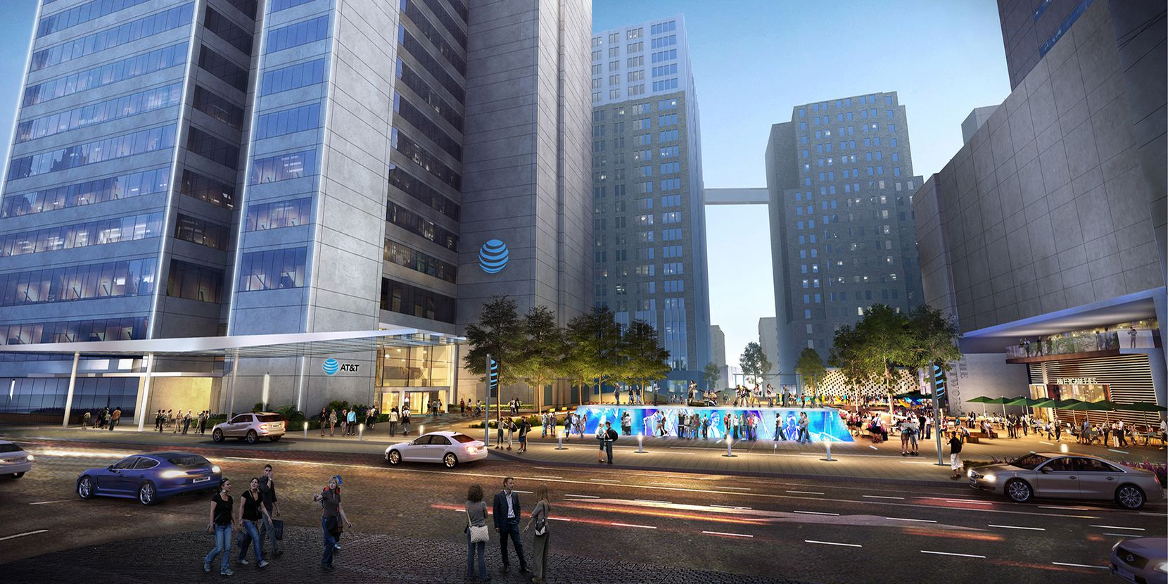 The plaza in front of AT&T's headquarters will get new fountains, lighting and art.