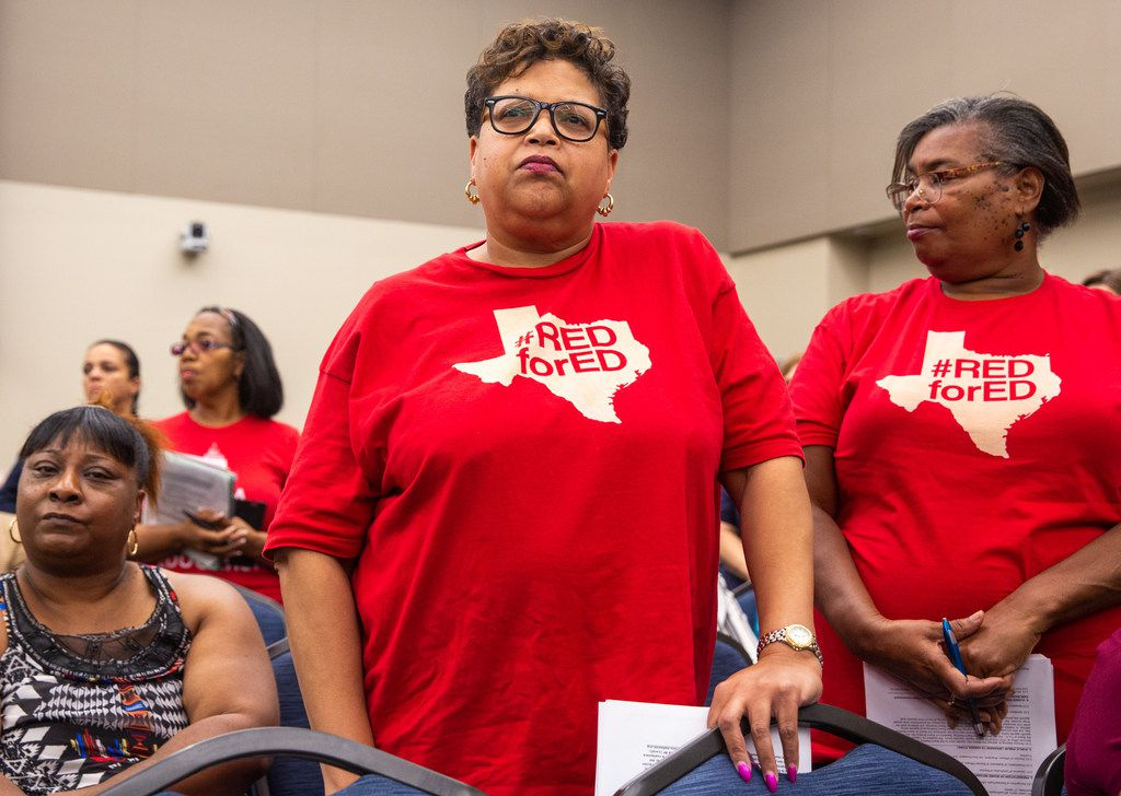Media specialist Mary Smith (center) and teacher Vivian Bryant (right) were among Dallas school employees who told the DISD board they wanted better across-the-board raises for all employees