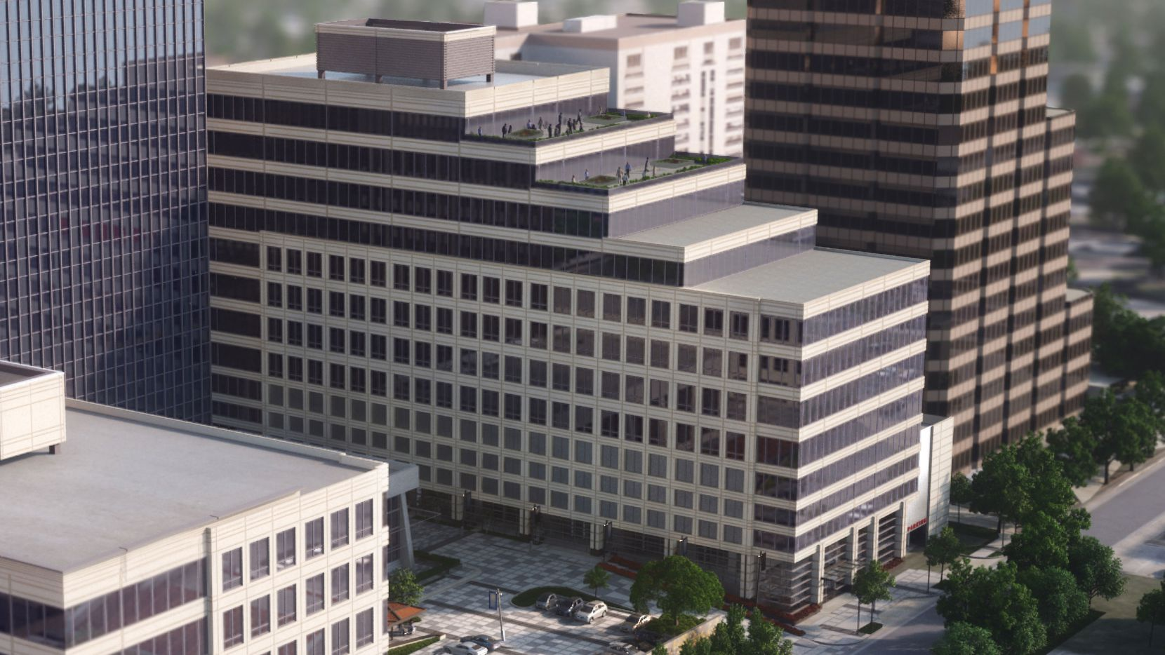 The 12-story Terraces at Douglas Center office building is near the Dallas North Tollway and Northwest Highway.