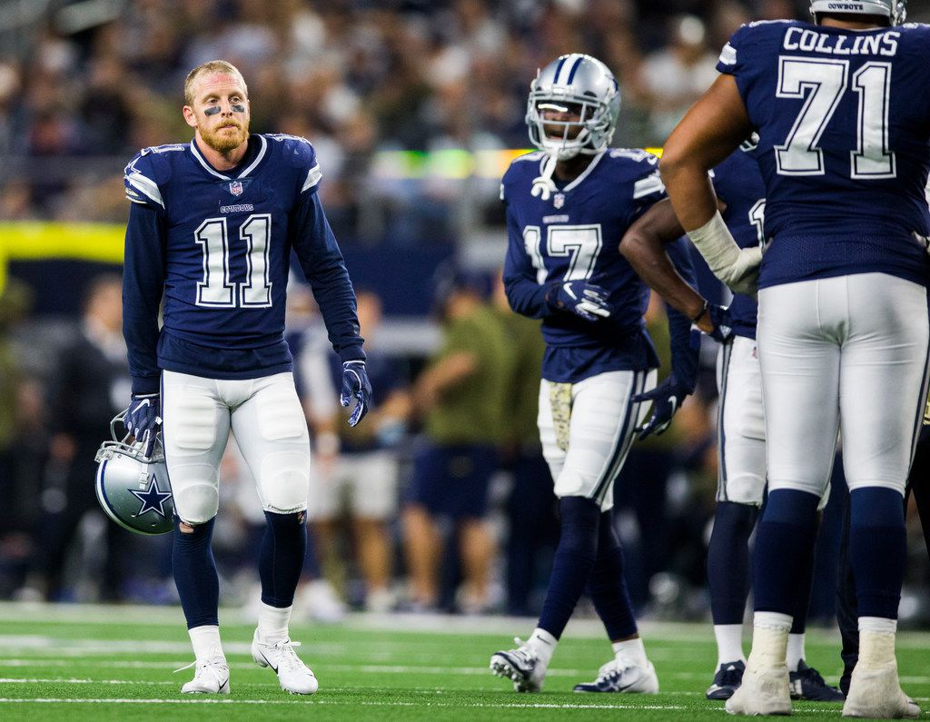 Dallas Cowboys wide receiver Cole Beasley (11) stands on the field during the fourth quarter of an NFL game between the Dallas Cowboys and the Tennessee Titans on Monday, November 5, 2018 at AT&T Stadium in Arlington, Texas. (Ashley Landis/The Dallas Morning News)