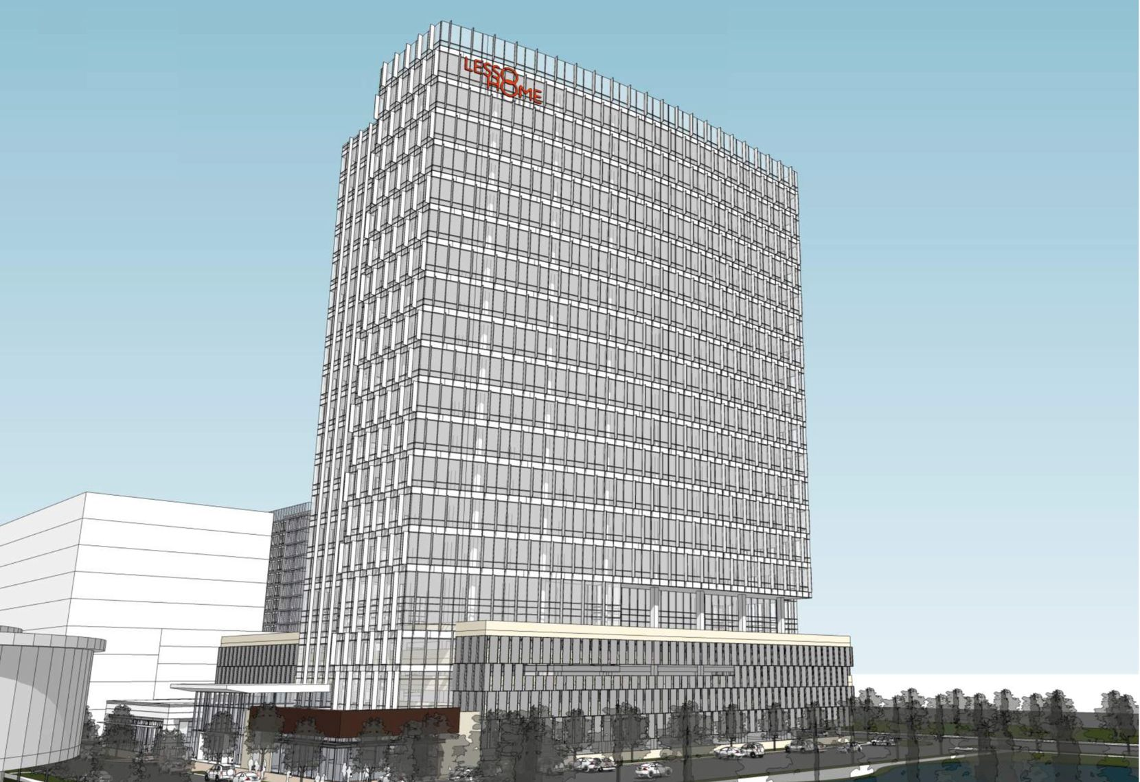 A modern office tower is included in the plans for Lesso America's Frisco project.