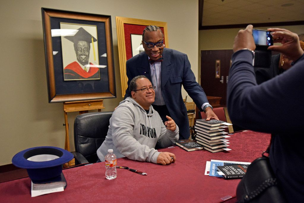 Dallas County Commissioner John Wiley Price, right, poses for a photo with author and professor Michael Eric Dyson after Dyson spoke during a Sunday service at Friendship-West Church in South Dallas, Feb. 26, 2017. Ben Torres/Special Contributor