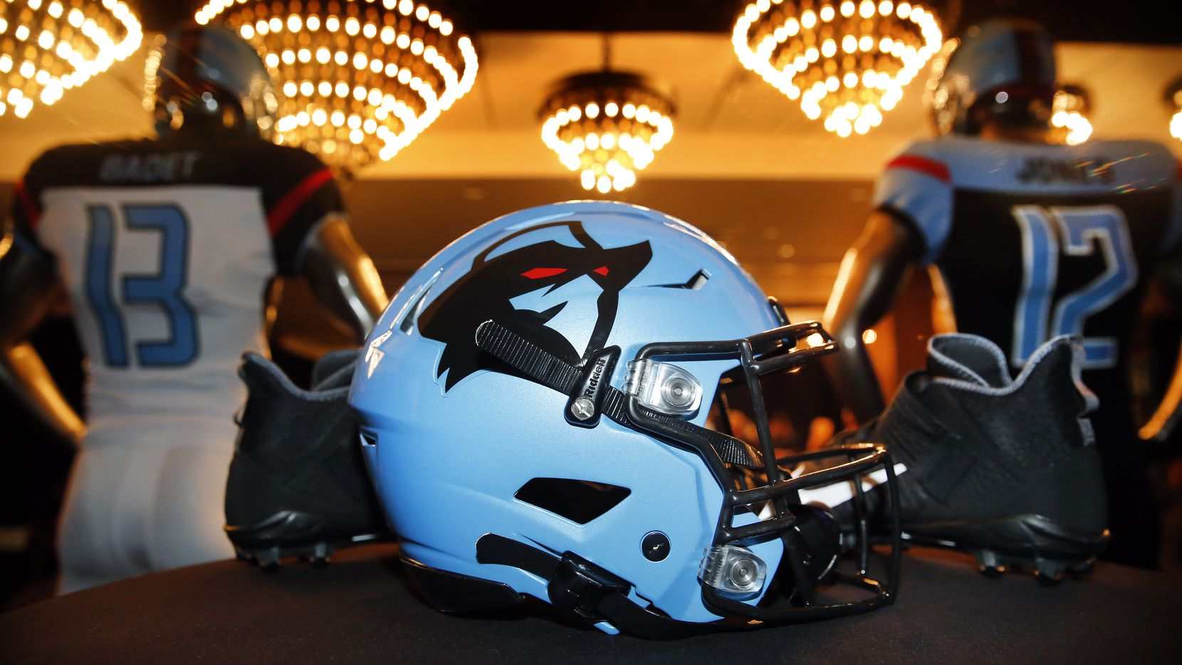 Dallas Renegades, the area's new XFL pro football team, unveiled their new uniforms during a team event at an Arlington, Texas hotel, Tuesday, December 3, 2019.