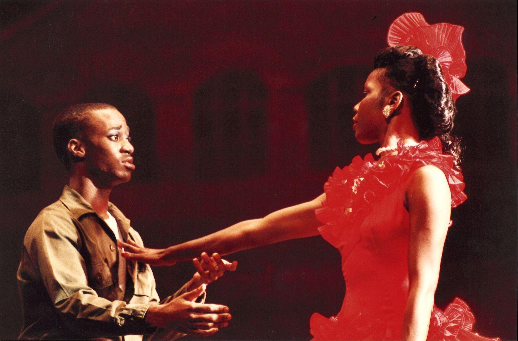 Patricia Price is Carmen and Derrick Brown is Joe in the Dallas Black Dance Theatre's version of Carmen Jones in 1984.