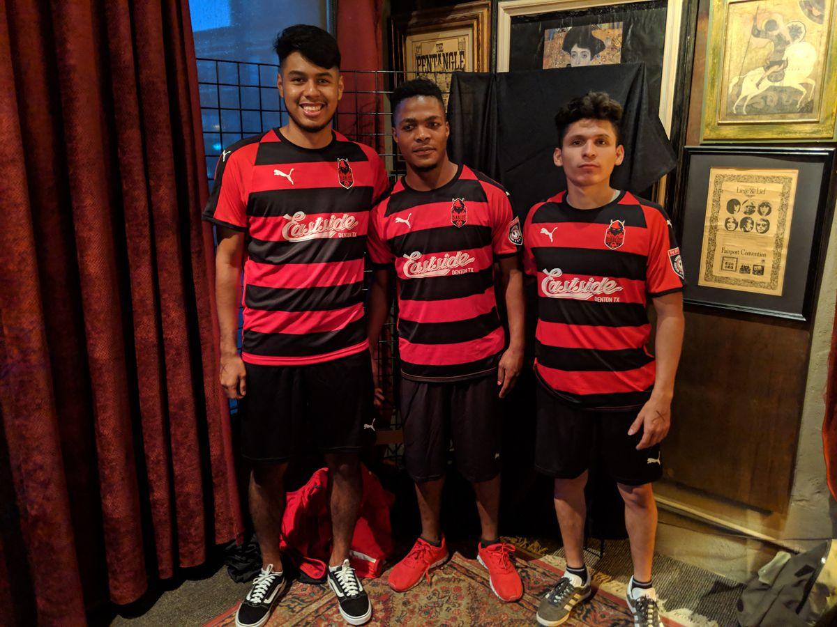 Denton Diablos players Abraham Hernandez, Shadrack Villa, and Abraham Escamilla model the club's new jersey they will wear during the team's inaugural NPSL season. (4-24-19)
