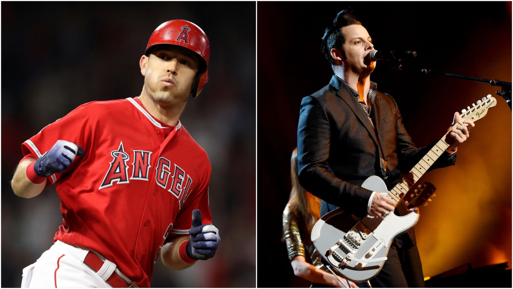 Baseball player Ian Kinsler (left) and musician Jack White (right) are partners in Warstic bat design and manufacturing company.