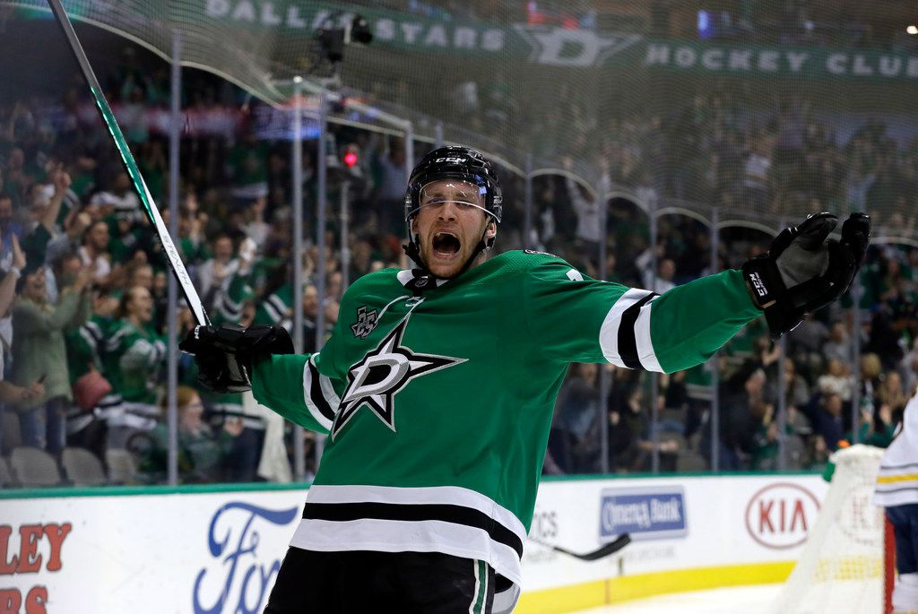 Dallas Stars' Radek Faksa (12) of the Czech Republic celebrates scoring a goal against the Buffalo Sabres in the first period of an NHL hockey game, Saturday, Nov. 4, 2017, in Dallas . (AP Photo/Tony Gutierrez)