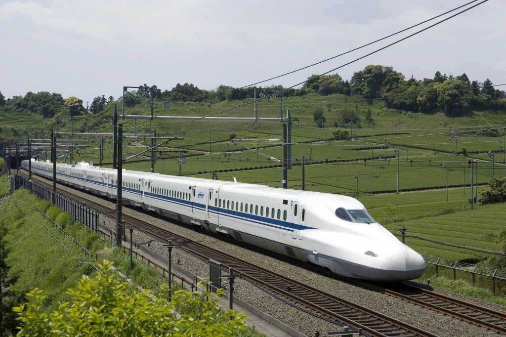 The high-speed train Texas Central proposes operating between Houston and Dallas would be similar to this N700 bullet train that runs from Tokyo to Osaka.   Note: attribution needs this language:  Photos of the N700 used under permission of JR Central
