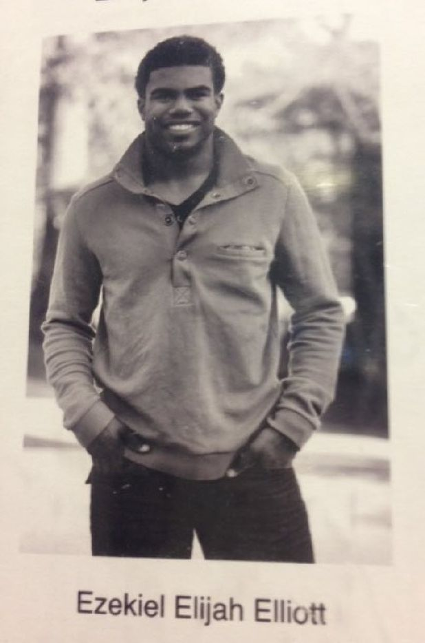 Cowboys running back Ezekiel Elliott's senior picture from the John Burroughs School yearbook.