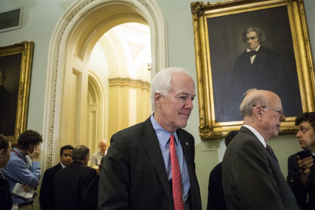 Senate Majority Whip John Cornyn, R-Texas, at the Senate on Wednesday.Senate Democrats have objected to an abortion-related provision in a Cornyn bill to increase penalties for human trafficking and add protection for victims. (Drew Angerer/The New York Times)
