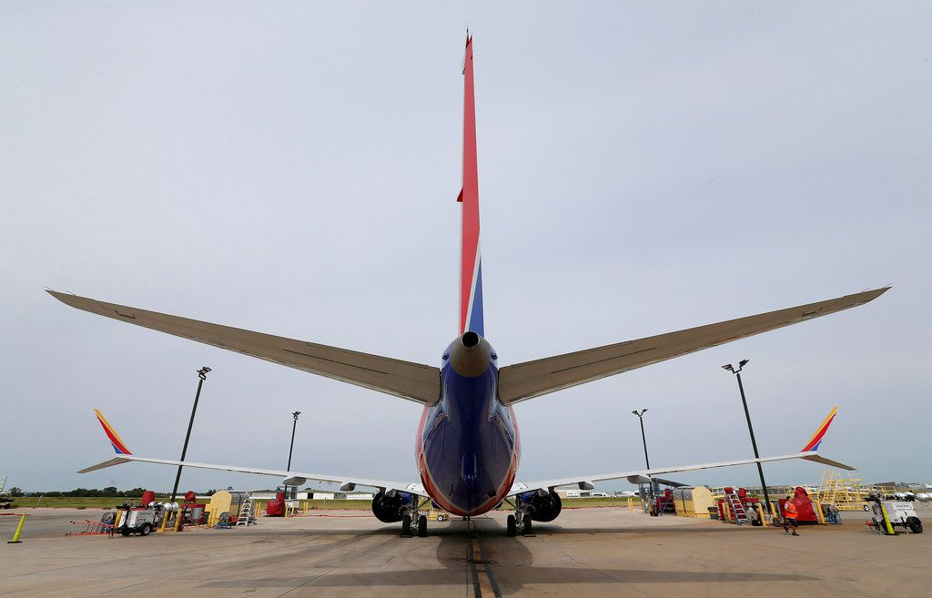 The tail of Southwest Airlines' new plane, the 737 Max, at headquarters in Dallas, Tuesday, Sept. 12, 2017. (Jae S. Lee/The Dallas Morning News)