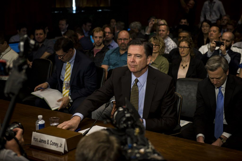 FILE Ñ FBI Director James Comey testifies before the Senate Judiciary Committee, less than a week before he was fired, on Capitol Hill in Washington, May 3, 2017. President Donald Trump asked Comey to shut down an investigation into his former national security adviser, Michael Flynn, according to a memo Comey wrote after a conversation with Trump in February. The White House disputes the account. (Gabriella Demczuk/The New York Times)
