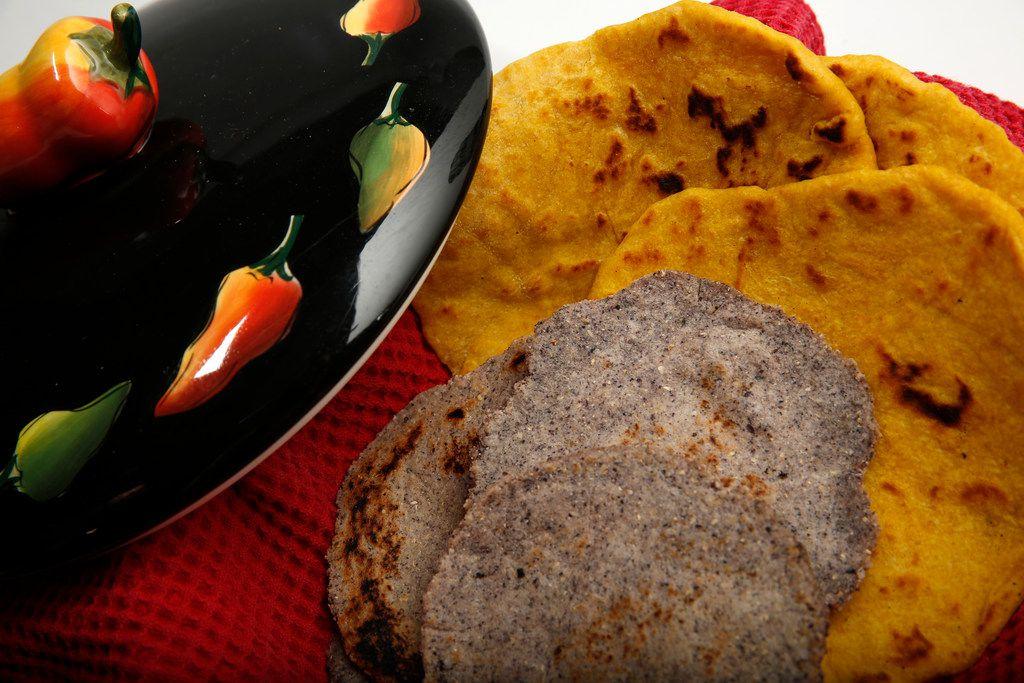 Pumpkin flour tortillas and blue corn tortillas