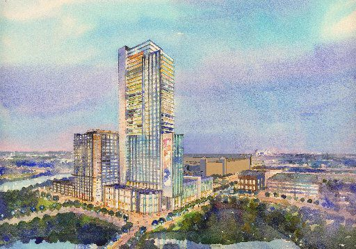 Hicks Holdings LLC announced Monday that it will build a 300-room Westin Hotel plus a 140-room Aloft hotel on five acres within the Glorypark mixed use development in Arlington. Here is a rendering of the hotel project.