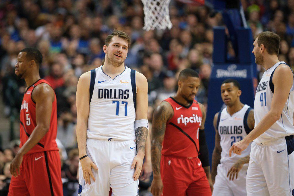 Mavericks forward Luka Doncic reacts after being fouled during the first half of a game against the Portland Trail Blazers at American Airlines Center on Sunday, Feb. 10, 2019, in Dallas. (Smiley N. Pool/The Dallas Morning News)