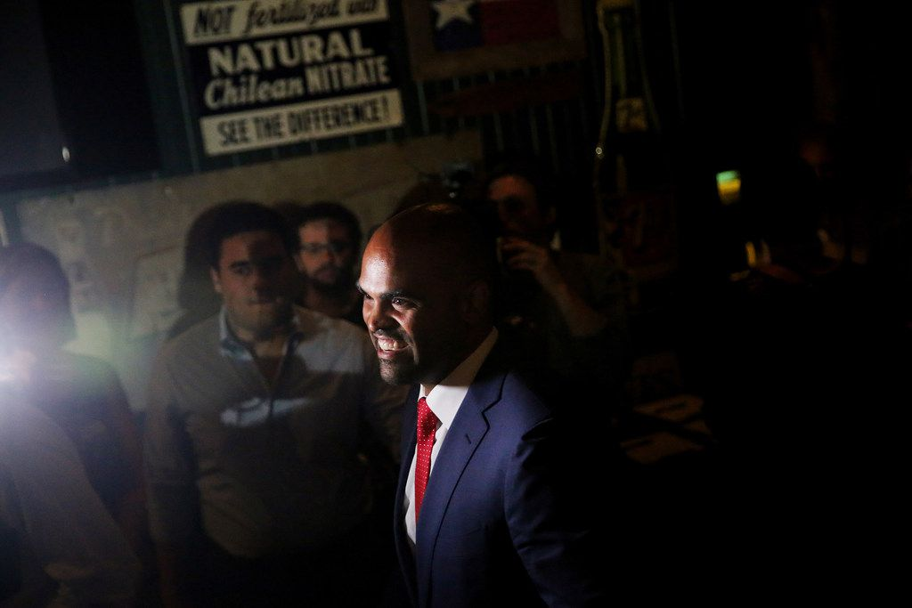 Colin Allred spoke to supporters during an election night party at Ozona Grill and Bar in Dallas on May 22, 2018, after he won the Democratic nomination in the 32nd Congressional District. Now he faces longtime U.S. Rep. Pete Sessions.