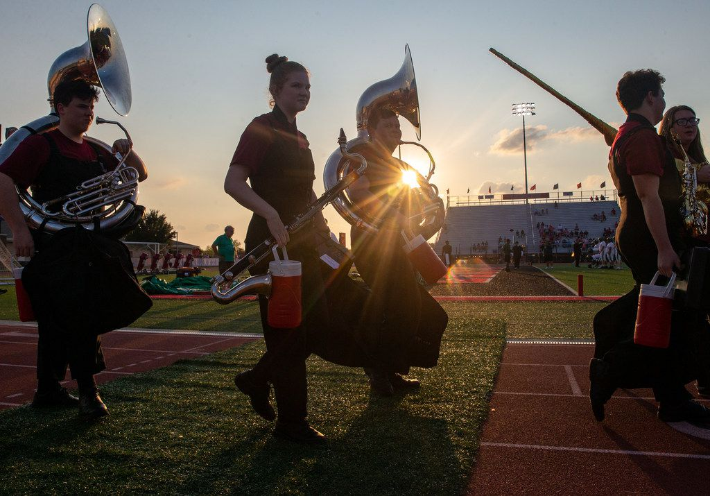 Lovejoy High School band members prepare for the football game between Lebanon Trail High School and Lovejoy High School at Leopard Stadium in Lucas, Texas, on Friday, Oct. 4, 2019. (Lynda M. Gonzalez/The Dallas Morning News)