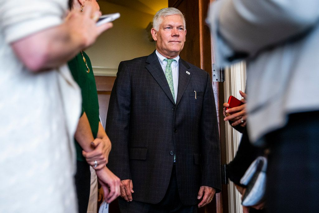 Congressman Pete Sessions talks with supporters at his luncheon at Dallas Athletic Club in Dallas on Thursday, October 18, 2018. (Shaban Athuman/The Dallas Morning News)