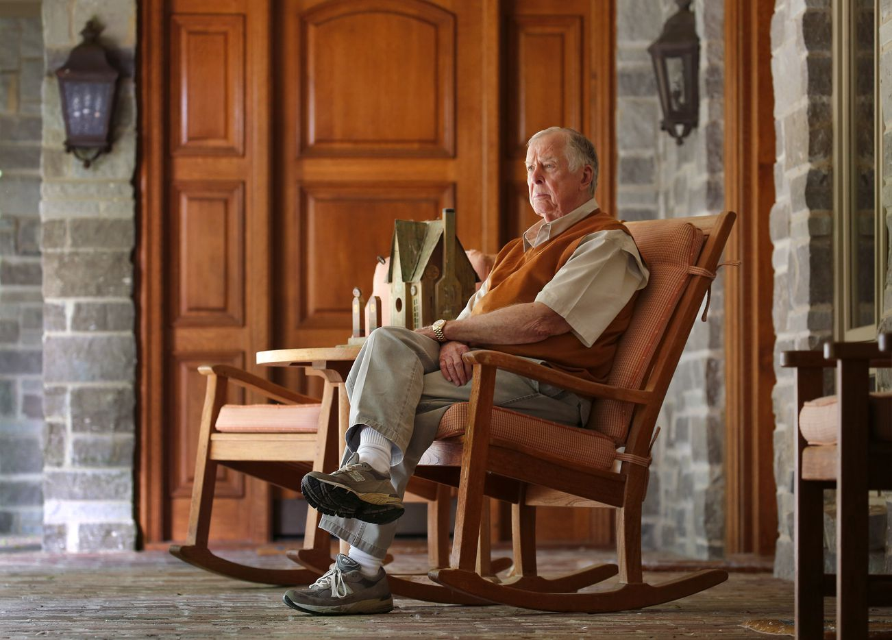 Dallas businessman and philanthropist T. Boone Pickens, on a patio at the lodge, acquired 68,000 acres along the Canadian River in Roberts County, where he's turned the Mesa Vista Ranch into an ideal habitat for quail.