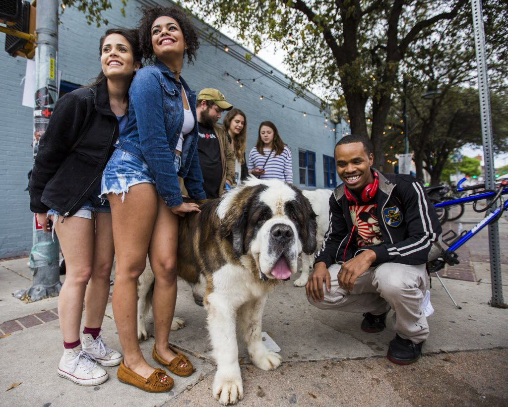 SXSW festival attendees pose with Ben, a Mophie rescue dog.