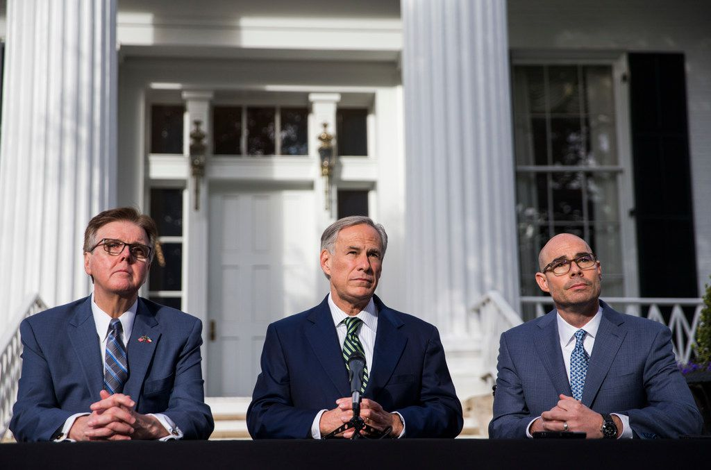 From left: Lt. Gov. Dan Patrick, Gov. Greg Abbott and House Speaker Dennis Bonnen spoke at a news conference Wednesday at the Governor's Mansion in Austin.