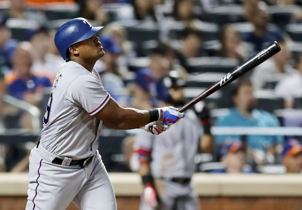NEW YORK, NY - AUGUST 08:  Adrian Beltre #29 of the Texas Rangers hits a solo home run in the sixth inning against the New York Mets during interleague play on August 8, 2017 at Citi Field in the Flushing neighborhood of the Queens borough of New York City.  (Photo by Elsa/Getty Images)
