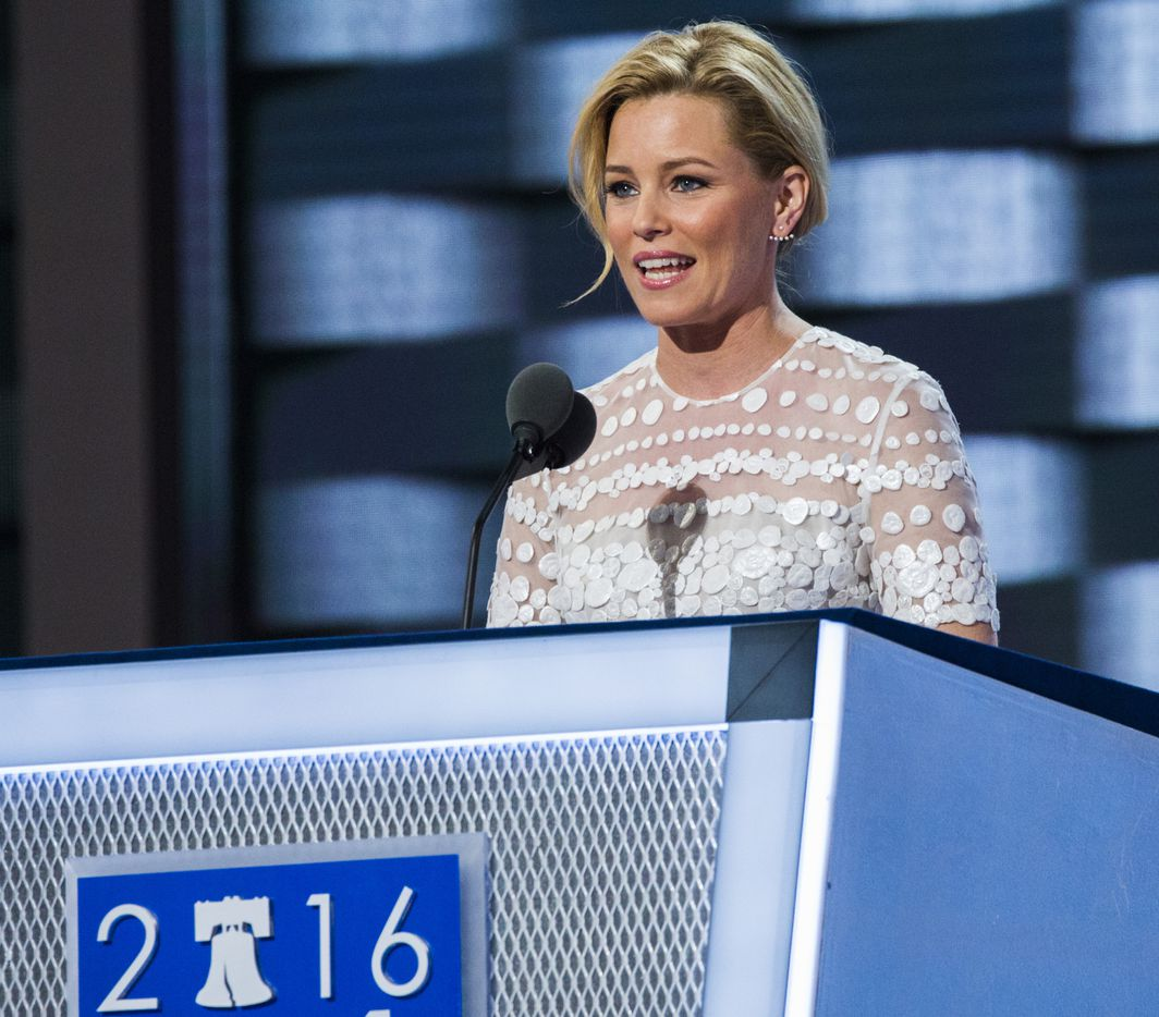 Actress Elizabeth Banks speaks during day two of the Democratic National Convention.