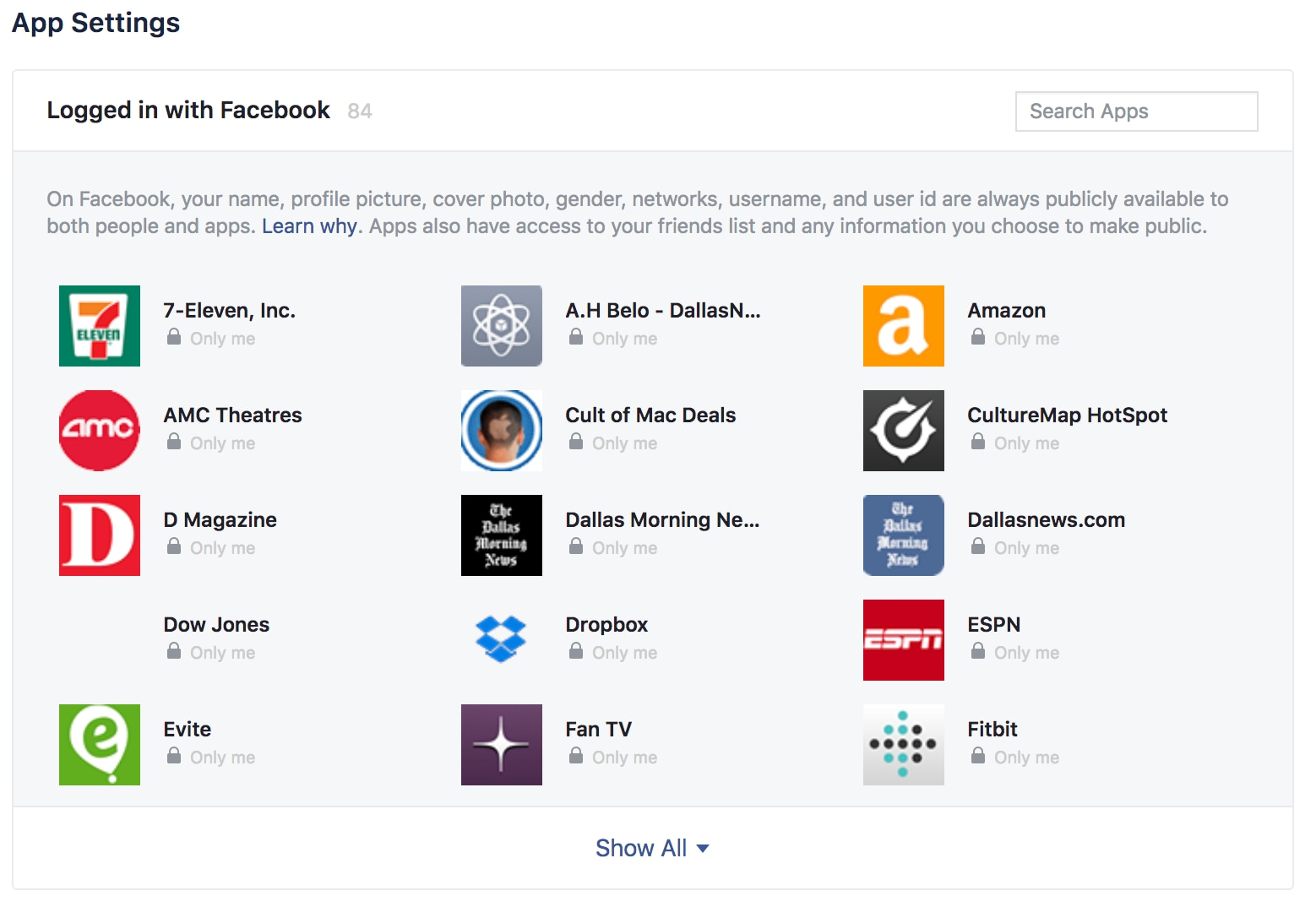 Here are just a few of the apps and sites I'm sharing some Facebook data with.