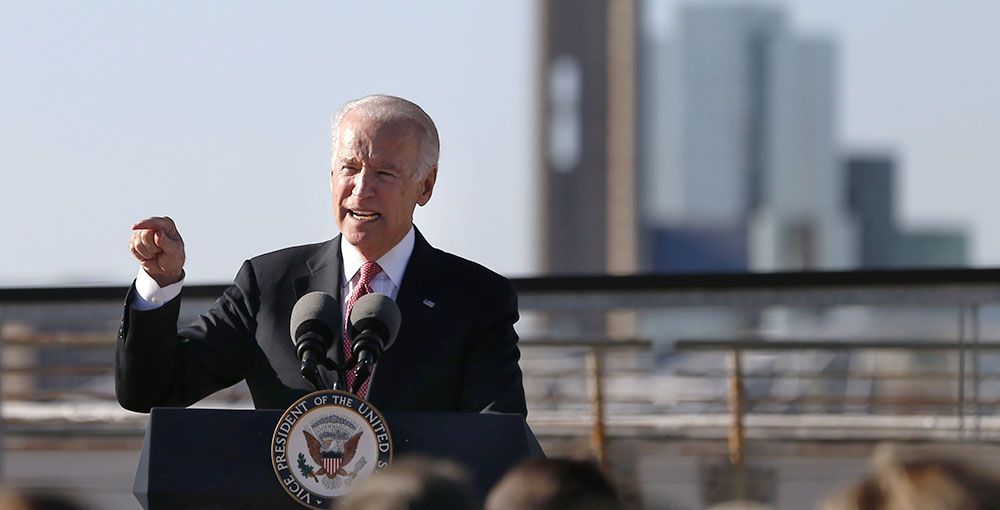 Then-Vice President Joe Biden speaks In November 2015 on the rooftop of South Side on Lamar in Dallas. Biden has endorsed the Democratic candidate in a crucial Texas congressional race, countering Vice President Mike Pence's endorsement of the Republican candidate.