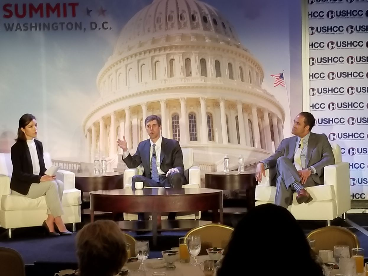 Reps. Beto O'Rourke (center) and Will Hurd spoke to the U.S. Hispanic Chamber of Commerce at the Willard Intercontinental Hotel in Washington on April 25, 2018.