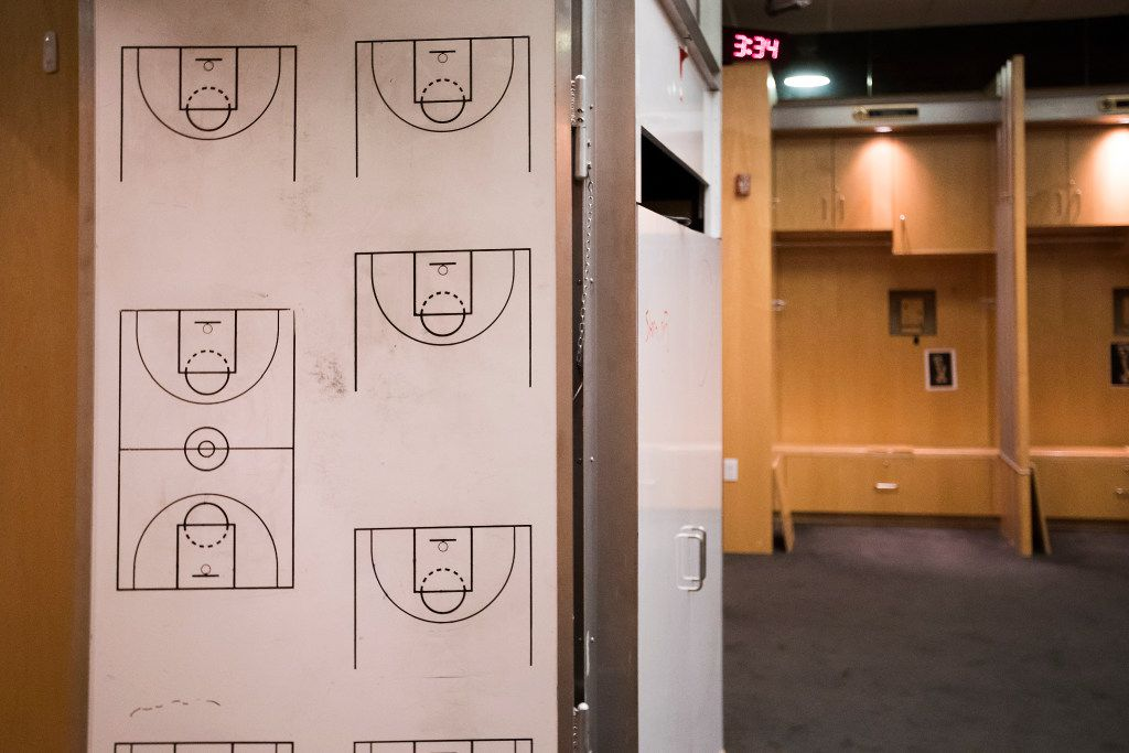 The Dallas Mavericks locker room sits empty before owner Mark Cuban begins the demolition process of the Mavericks locker room in a press availability before the 2017 NBA Draft at American Airlines Center on Thursday, June 22, 2017, in Dallas. The team is renovating the locker room into a state-of-the-art facility for the start of next season. (Smiley N. Pool/The Dallas Morning News)