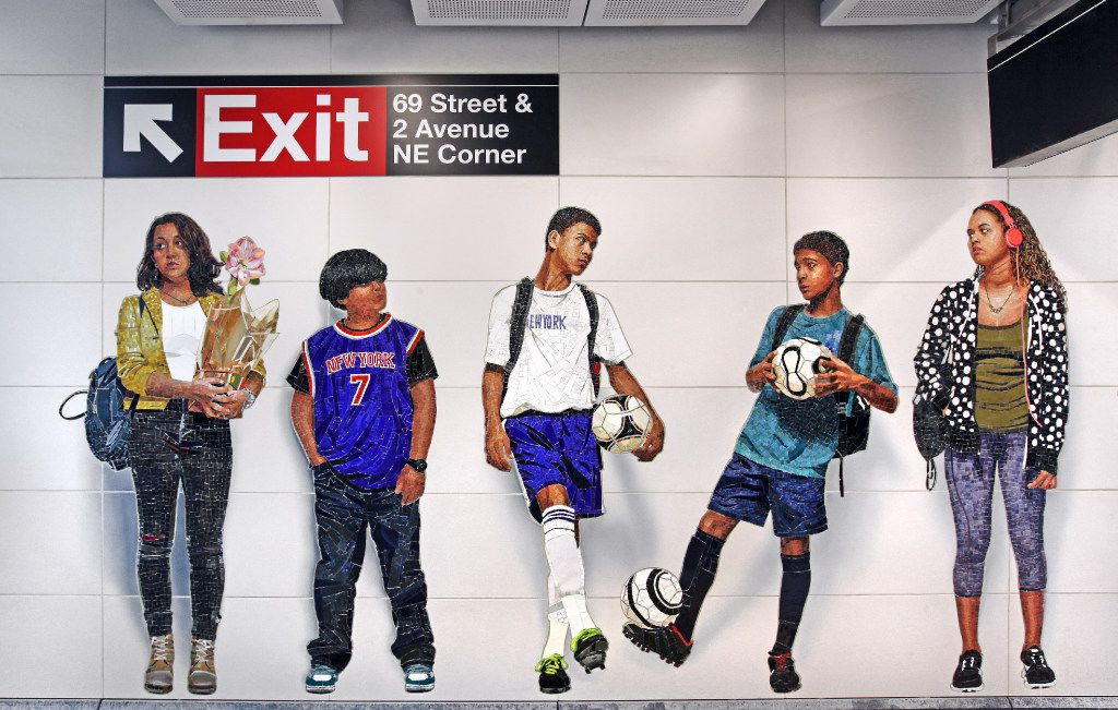 """""""Perfect Strangers"""" by Vic Muniz at 72nd Street in New York City"""