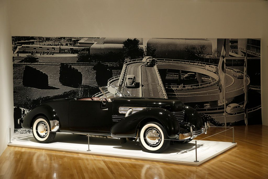 """A 1937 Cord 812 Supercharged """"Sportsman"""" Cabriolet Coupe in the """"Cult of the Machine: Precisionism and American Art"""" show by the Dallas Museum of Art on Sept. 13, 2018."""