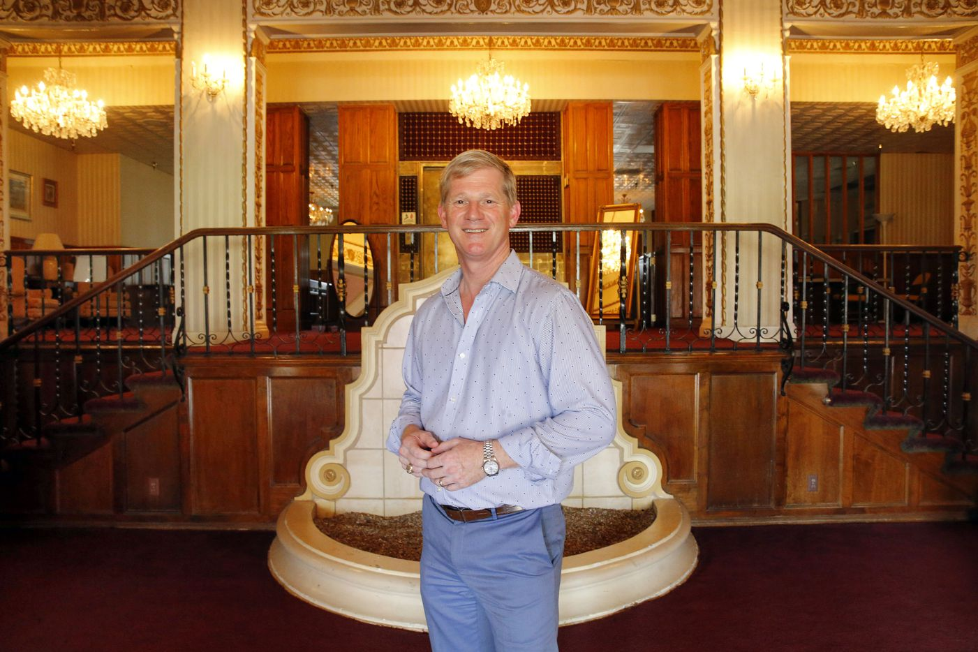 Developer Jim Lake Jr. posed in the lobby of the Ambassador Hotel in June 2016. He was planning to turn the hotel into apartments that would have been about 330 square feet.