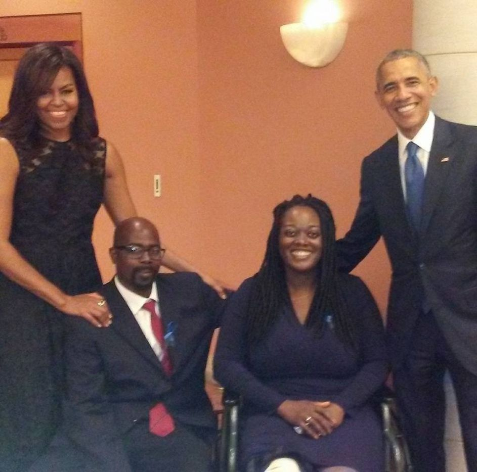 Shetamia Taylor was shot in the leg when sniper Micah Johnson opened fire on law enforcement in downtown Dallas on July 7, 2016, during a Black Lives Matter rally. She and her husband, Lavar Taylor, met President Barack Obama and wife Michelle when a memorial and honor service was held for the massacre's victims and survivors.