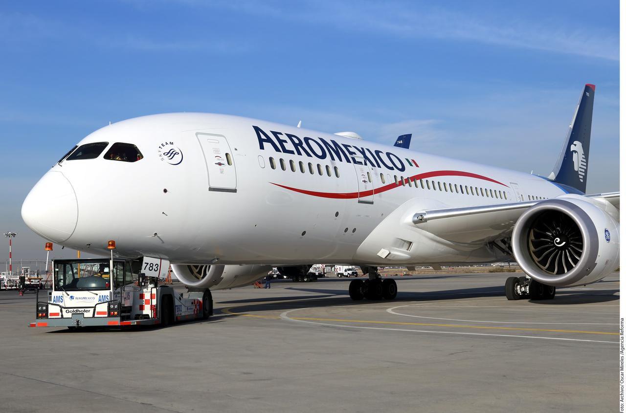 Avión de Aeroméxico en la Ciudad de México, 13 de febrero del 2017.(AGENCIA REFORMA)