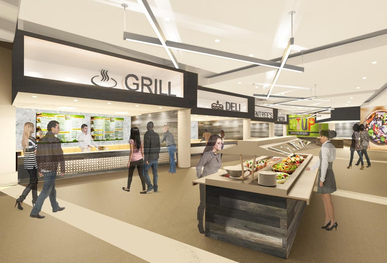 A food station shown in an artist's rendering.