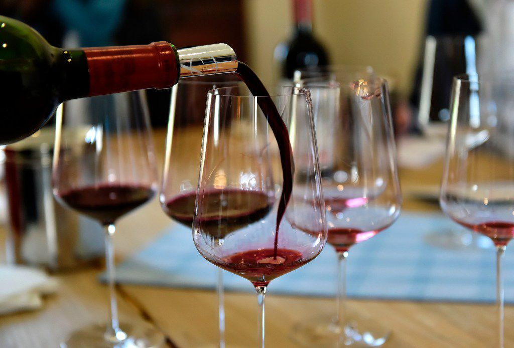 Wine is poured during a tasting of the 2016 vintage Bordeaux primeurs at Chateau La Lagune in Ludon-Medoc on April 4, 2017. AFP PHOTO / GEORGES GOBETGEORGES GOBET/AFP/Getty Images