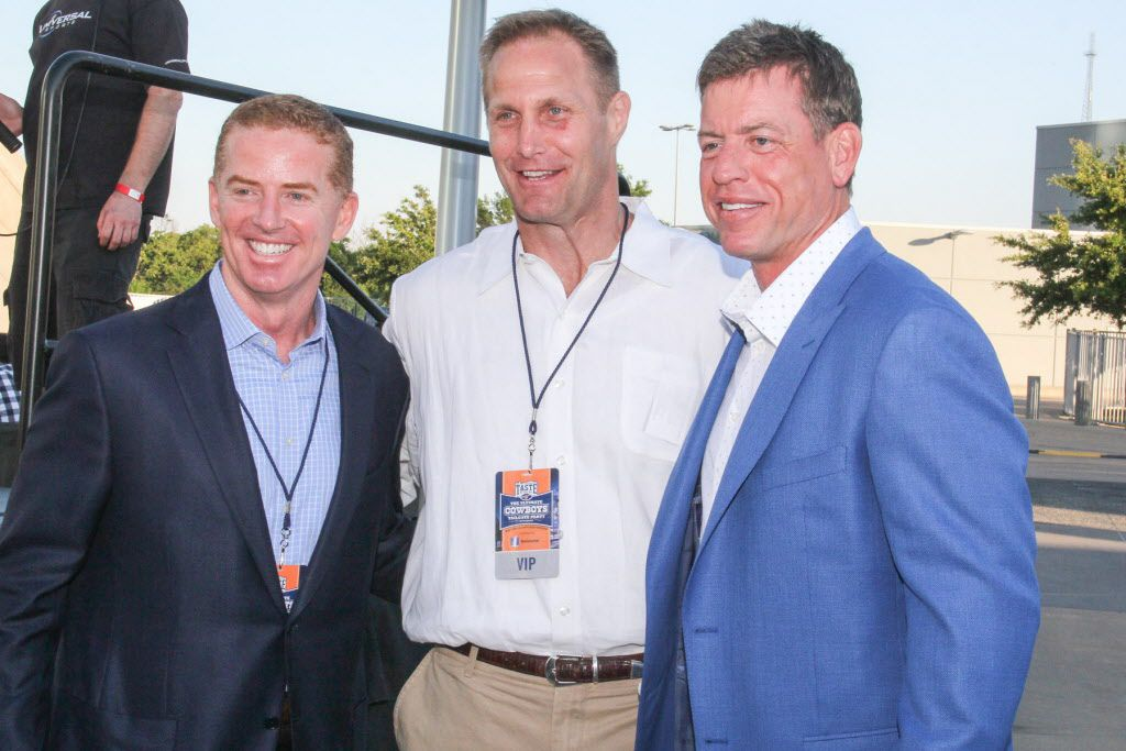 Dallas Cowboys head coach Jason Garrett with former Dallas Cowboys players Chad Hennings and Troy Aikman at Taste of the NFL on Sunday at AT&T Stadium.